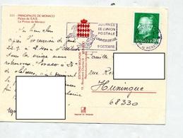 Carte Flamme Monte Carlo Upu Vue Chateau Palais - Marcophilie - EMA (Empreintes Machines)