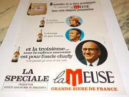 ANCIENNE  PUBLICITE 3 BOUTEILLES DE BIERE LA MEUSE 1968 - Alcools