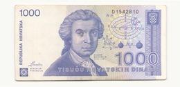 Croatie 1991 Billet De 1000 Dinara - Croatie