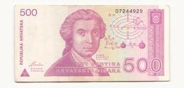 Croatie 1991 Billet De 500 Dinara - Croatie