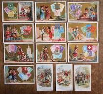 13 Cartons Publicitaires LOUIT Frères & Cie, Chocolats-thés-pâtes Pour Potages-conserves Alimentaires-moutardes-vinaigr - Chocolat
