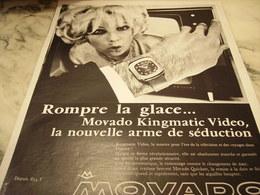 ANCIENNE PUBLICITE ROMPRE LA GLACE MONTRE MOVADO  1968 - Joyas & Relojería
