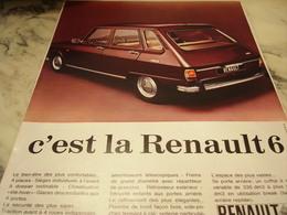 ANCIENNE PUBLICITE C EST LA RENAULT 6 1968 - Voitures