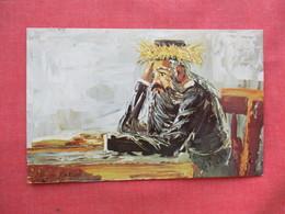 Signed Artist   Mystical Study  New Year Greeting Jewish Man  Ref 3226 - Europe
