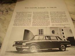 ANCIENNE PUBLICITE LA NOUVELLE  VOITURE TRIUMPH 2500 PI 1968 - Voitures