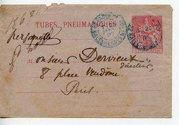 866. ENVELOPPE TUBE PNEUMATIQUE CACHET PARIS MALESHERBES 1897 - Rohrpost