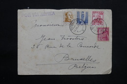 ESPAGNE - Enveloppe Commerciale De Barcelone Pour Bruxelles En 1949 Par Avion , Affranchissement Plaisant - L 25300 - 1931-50 Briefe U. Dokumente