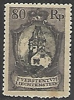 Liechtenstein  1921  Sc #68   80rp    MH   2016 Scott Value $32 - Unused Stamps