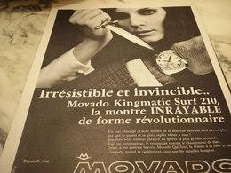 ANCIENNE PUBLICITE IRRESISTIBLE ET INVINCIBLE  MONTRE MOVADO  1968 - Bijoux & Horlogerie