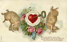 COUPLE DE COCHON Coeur Avec Une Clef - - Cochons
