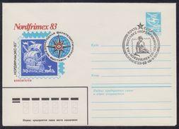 16360 RUSSIA 1983 ENTIER COVER Used DENMARK PHILATELY EXHIBITION NORDFRIMEX COPENHAGEN EXPOSITION SAILING SHIP VOILE 327 - Expositions Philatéliques