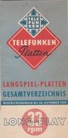 TELEFUNKEN PLATTEN , LANGSPIEL.PLATTEN GESAMTVERZEICHNIS 1954 - Accessories & Sleeves
