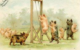 COCHONS HUMANISES - Jouant à La Balançoire - Dos Simple - - Cochons