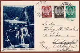 YUGOSLAVIA-CROATIA, PLITVICE-WATERFALL, 3rd EDITION ILLUSTRATED POSTAL CARD - Postal Stationery