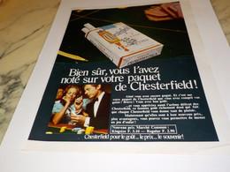 ANCIENNE PUBLICITE BIEN SURE VOUS L AVEZ NOTE  CIGARETTE CHESTERFIELD 1968 - Tabac (objets Liés)