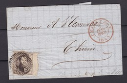 N° 6  Margé Bord De Feuille De CHARLEROI Vers THUIN Du 8 Juil 1853 (lac ) - 1851-1857 Medaillons (6/8)