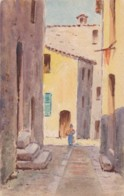 AN88 Artist Drawn Postcard Of A Mediterranean Street Scene - Postcards
