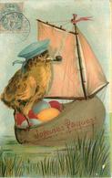 JOYEUSES PÂQUES - Poussin Sur Un Bateau.(carte Gaufrée) - Pâques