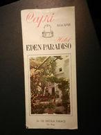 6b) DEPLIANT TURISTICO CAPRI HOTEL EDEN PARADISO CON TARIFFE 1954 SU VELINA BUONE CONDIZIONI  DIMENSIONI CHIUSO 10 X 23 - Dépliants Touristiques