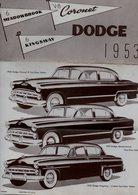 PROSPECTUS VOITURE - DODGE 1953 - CORONET - MEADOWBROOK - KINGSWAY - Voitures