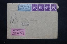 FINLANDE - Enveloppe Par Avion En Exprès De Turku Pour Paris En 1946 , Affranchissement Plaisant - L 25317 - Finnland