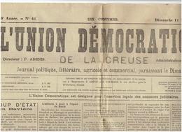 LL'union Démocratique De La Creuse ( Coup D'état En Baviere : Arrivee D Hitler ) Du11 Novembre 1925 - Journaux - Quotidiens