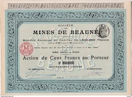 Lot 4 Actions Société Des Mines De Beaune Juillet 1913 - Mines D'or De Beaune Les Mines - Limoges 87 - Gold Mine Shares - Mines