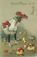JOYEUSES PÂQUES - Petite Fille Et Poussins.(carte Gaufrée) - Pâques