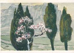 CPM 10X15. Illustrat. Louis JOU (1881-1968) VALLEE DES LES BAUX . Amandiers En Fleurs Et Cyprès. Aquarelle - Ilustradores & Fotógrafos