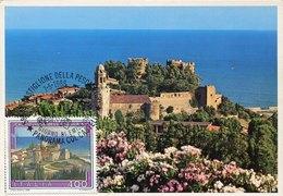 43745  Italia,  Maximum 1988 Castiglione Della Pescaia, Castello E Panorama,  The Castle - Châteaux
