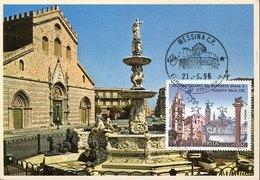 43747  Italia,  Maximum  1996 Messina The Cathedral And Fountain,  Architecture - Eglises Et Cathédrales