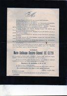 De Keyn Guillaume Edmond °1867 Leefdaal Bertem)1922 Ceulemans Goossens Geens Swenants Sterckx Confrérie Saint-Hubert - Cartes