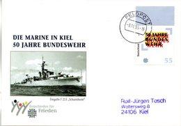 """(BWFP2) BRD-Bundeswehr, Feldpost-Sonderumschlag """"DIE MARINE IN KIEL - 50 JAHRE BUNDESWEHR"""" EF Mi 2497 3.10.1995 FELDPOST - Storia Postale"""