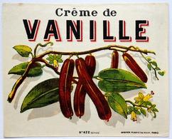 Belle Etiquette CREME De VANILLE (laquée) (10,5 X 8,5 Cm) HABERER DOUIN ET JOUNEAU / Label étiquette /A18 - Etiquettes