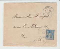 """SEINE & OISE : """" SEVRAN """" CàD Type A2 BLEU NON SIGNALE / LSC De 1900 Pour Paris  De 1900 TB - Marcophilie (Timbres Détachés)"""