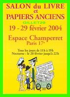 ADVERTISING - PUBLICITÉ - SALON DU LIVRE ET PAPIERS ANCIENS, 2004 - - Publicité
