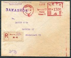 1938 USSR Moscow Registered Franking Machine / Meter Mark Cover - Hamburg Germany - 1923-1991 USSR