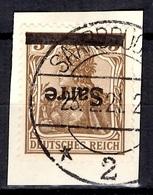 Sarre YT N° 3A Surcharge Renversée Oblitéré Sur Fragment. B/TB. A Saisir! - Used Stamps