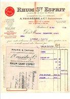 FACTURE + TRAITE RHUM SAINT ESPRIT A. TEISSEDRE à BORDEAUX 1929 - France