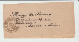 """RHONE: """" IMPRIMES / LYON-TERR """" / BJ De 1900 Pour Saumur RARE TB: - Marcophilie (Timbres Détachés)"""