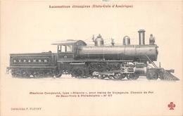 """Les Locomotives - ETAT-UNIS - Machine Compound, Type """"ATLANTIC"""" Pour Train De NEW-YORK à PHILADELPHIE - Transports"""
