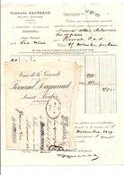 FACTURE + TRAITE FERNAND DAGNEAUD VINS DE LA GIRONDE à SAINT-LOUBES 1929 - France