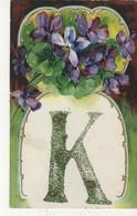 "The Letter ""K"", Glitter, Pre-1920 Postcard - Prénoms"