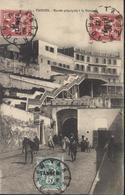 Mouchon Retouché YT 85 X2 + 83 Blanc Surchargés Tanger CAD Tanger Maroc 14 7 22 CPA Tanger Entrée Principale à La Douane - Maroc (1891-1956)