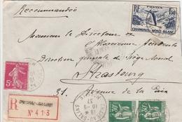 France Lorraine Lettre Recommandée Château-salins 1937 - Marcophilie (Lettres)