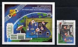 VIETNAM VIET-NAM 1991, Postes Et Télécommunications, 1 Valeur Et 1 Bloc, Oblitérés / Used. R223 - Vietnam