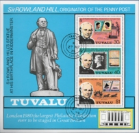 Tuvalu 1979 Rowland Hill Memorial Block Issue Cancelled - Rowland Hill