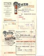 FACTURE + TRAITE DISTILLERIE DE LA SUZE 1940 - France