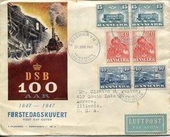 43768  Danmark, Circuled Fdc 1947  Railway 100 Year - Trenes