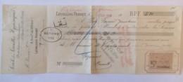 France - Timbre Fiscal 5c - 100f Et Au Dessous Sur Mandat De La Société Des Serviettes Hygiéniques - Le 29 Janvier 1910 - Fiscaux